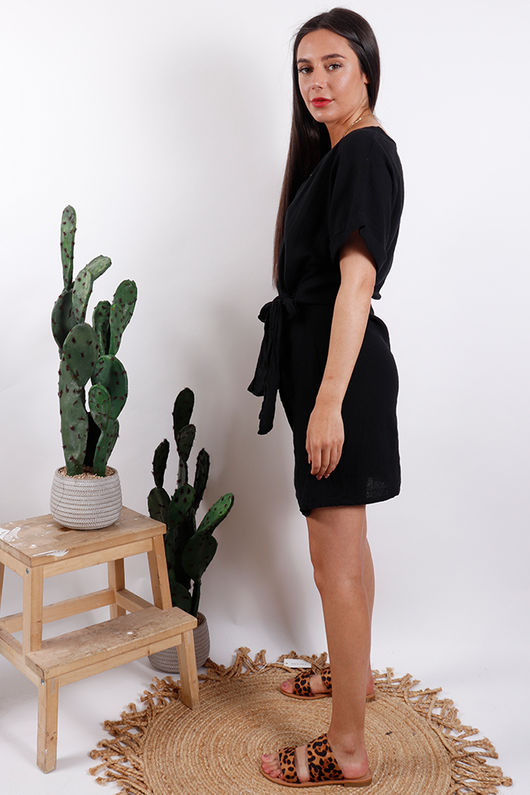 Rio Wrap Linen Dress Black