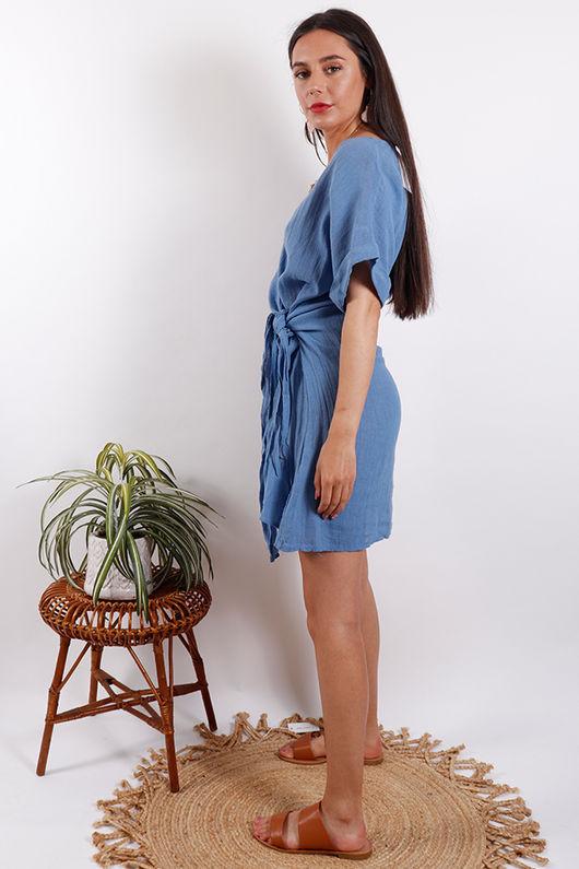 Rio Wrap Linen Dress Denim