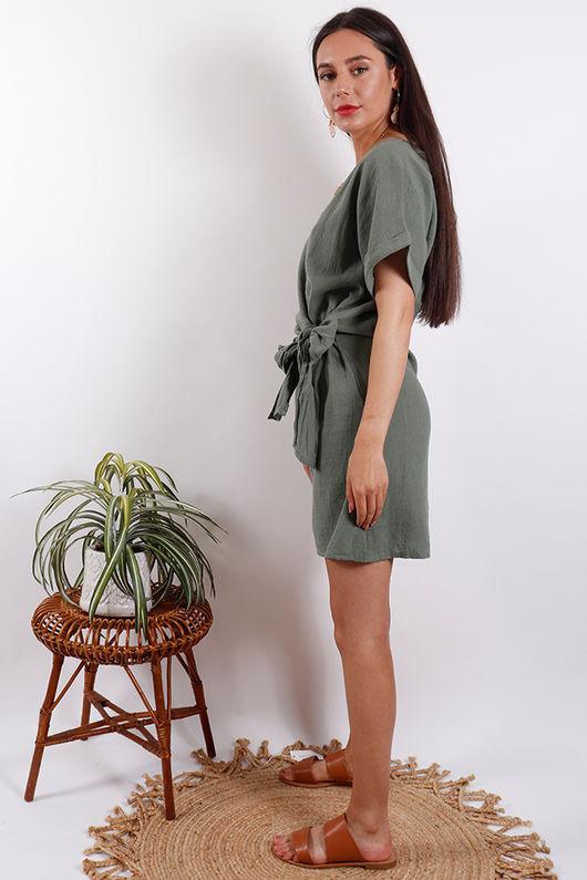Rio Wrap Linen Dress Khaki