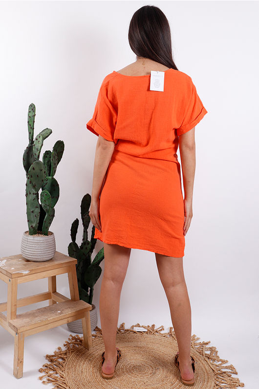 Rio Wrap Linen Dress Tangerine