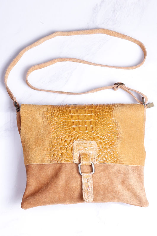 Rome Croc Messenger Bag Mustard