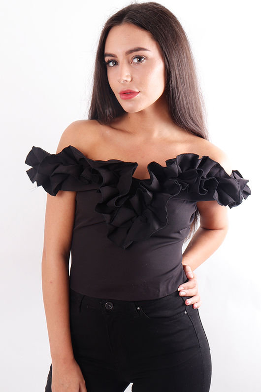 Ruffle Bardot Top Black