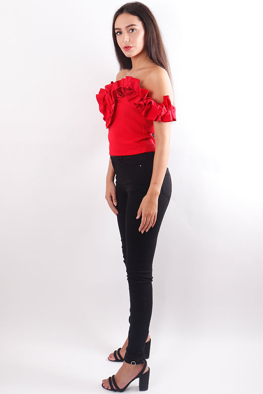 Ruffle Bardot Top Red