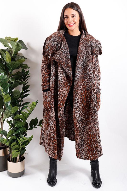 Made In Italy Rusty Leopard Coatigan