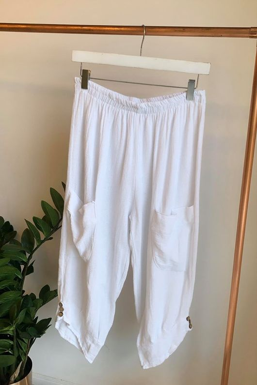 Sahara Hopsack Button Crop Pant White