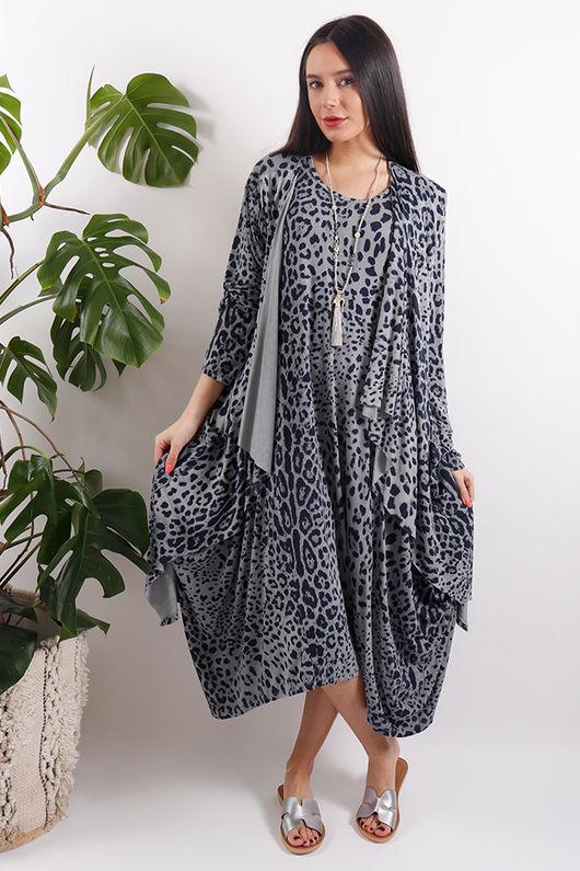 Sahara Leopard Cardigan Grey