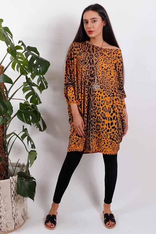 Sahara Leopard Top Orange