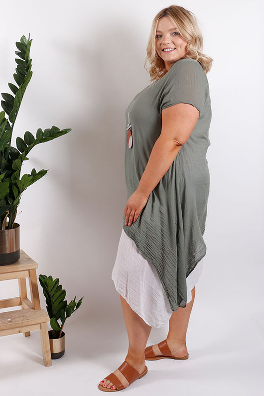Santorini Two Layer Dress Khaki