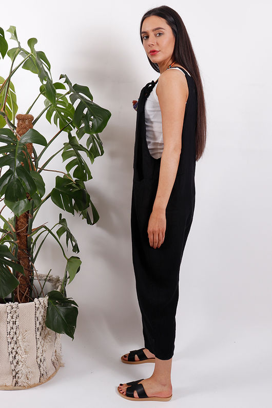 Savannah Linen Dungarees Black