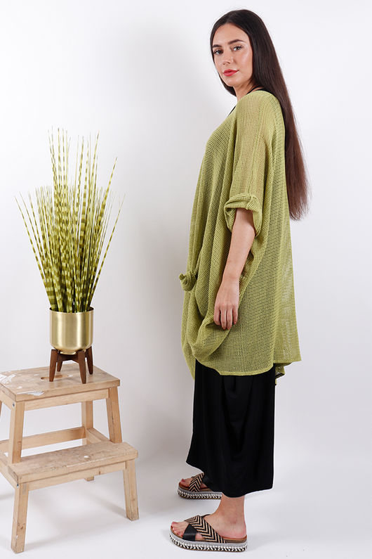 Savannah Oversized T Bag Top Lime