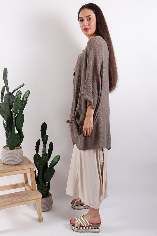 Savannah Oversized T Bag Top Mocha