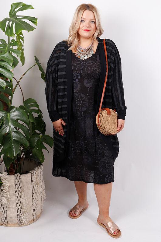 Savannah Printed Sac Dress Summer Black