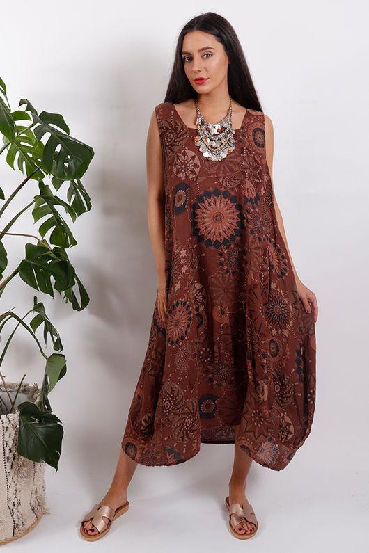 Savannah Printed Sac Dress Tan