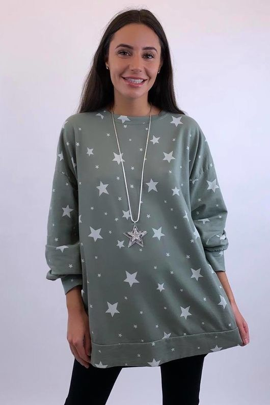 Scatter Star Sweatshirt Khaki