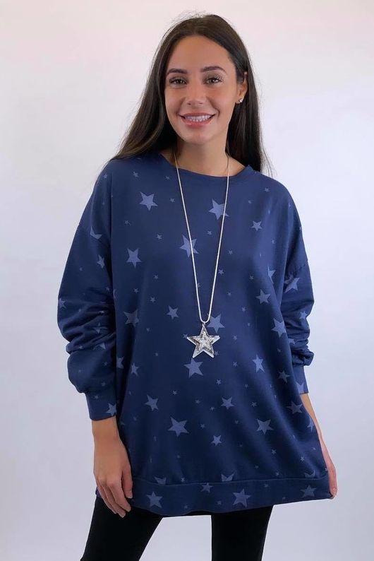 Scatter Star Sweatshirt Navy