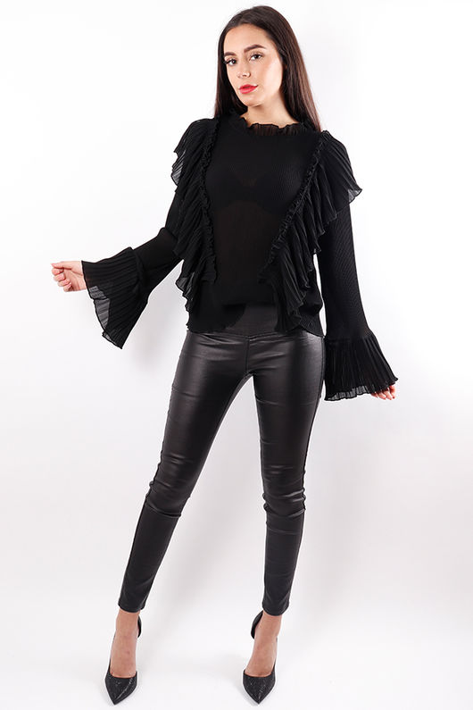 Scenes Pleat Ruffle Blouse Black