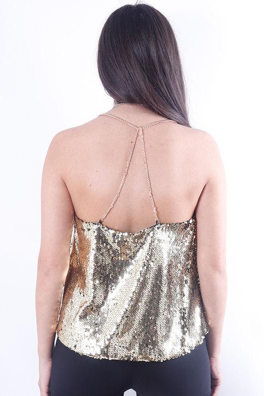 Sequin Cami Gold