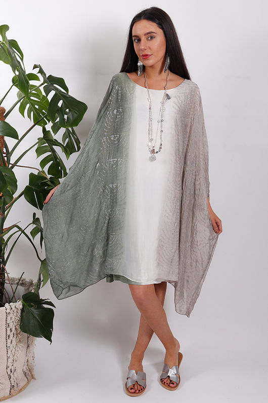 Silk Road Ombre Dress Khaki