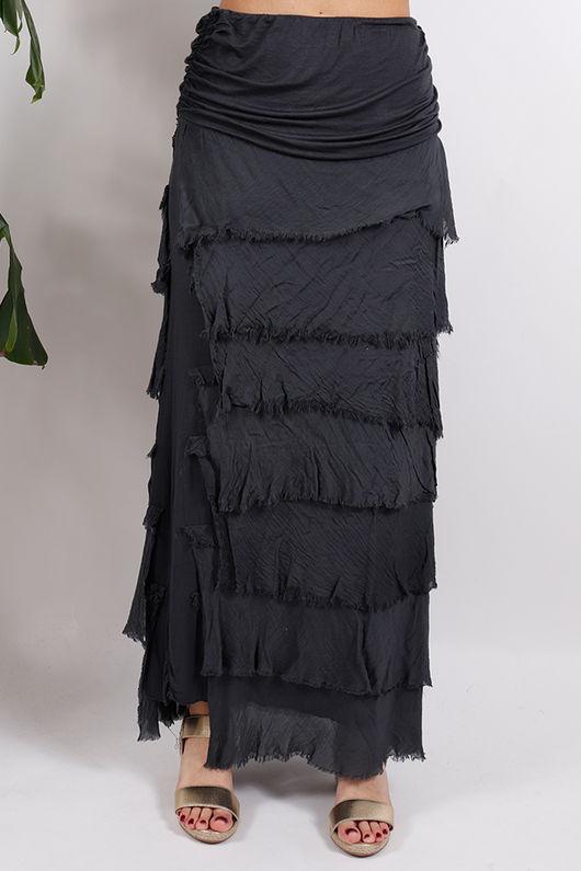 Silk Road Textured Skirt Graphite