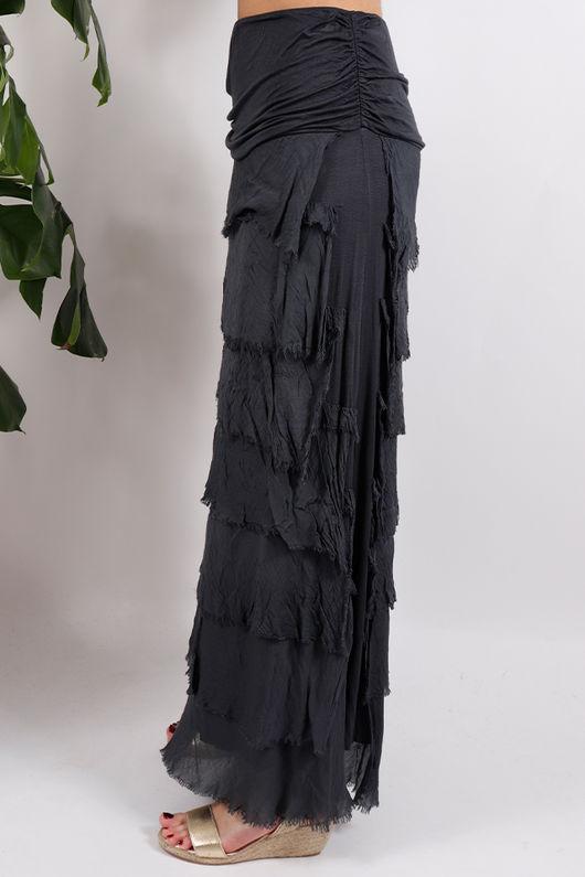 Silk Road Textured Skirt Slate