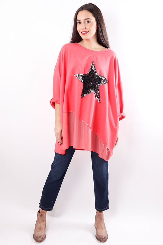 Silky Sequin Star Sweat Living Coral