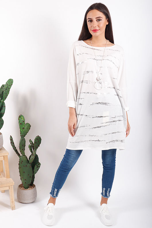Silver Lines Top White