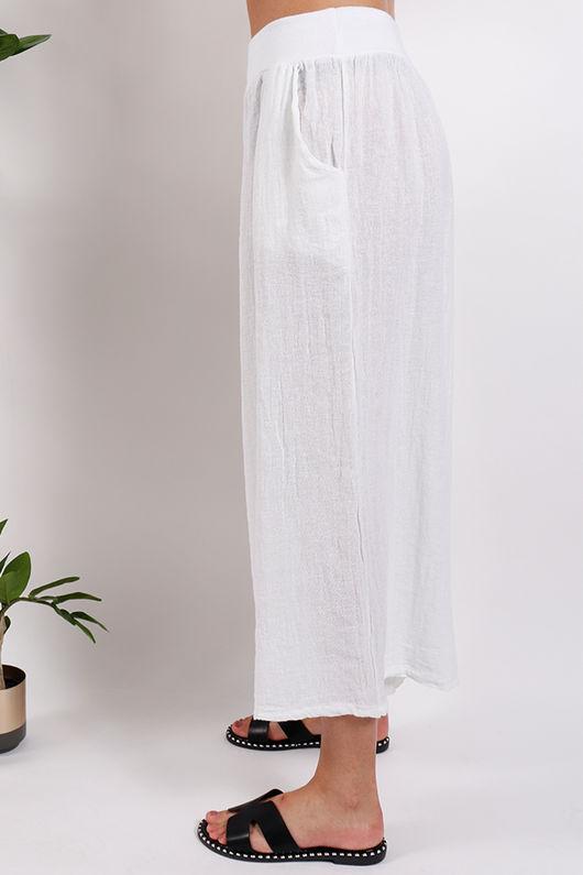 St Kitts Linen Culottes White