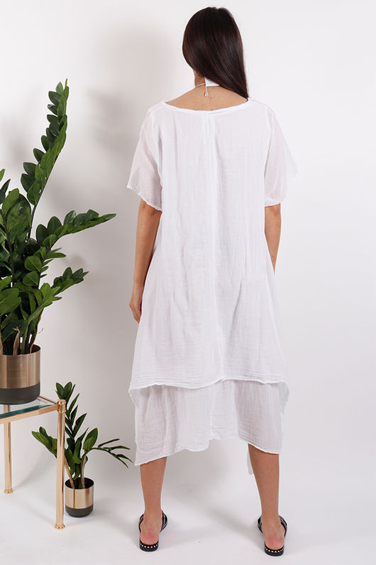 St Kitts Two Layer Dress White