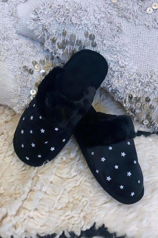Starry Night Slippers Black