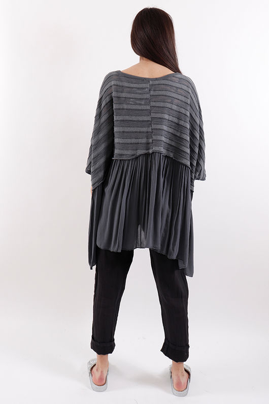 Stockholm Textured Ruffle Top Slate