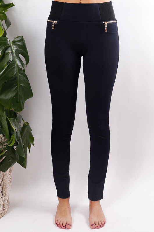 Stretch Pull On Pant Navy