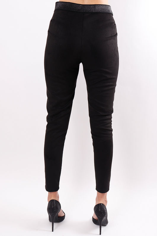 Stretch Suedette Pull On Pants Black