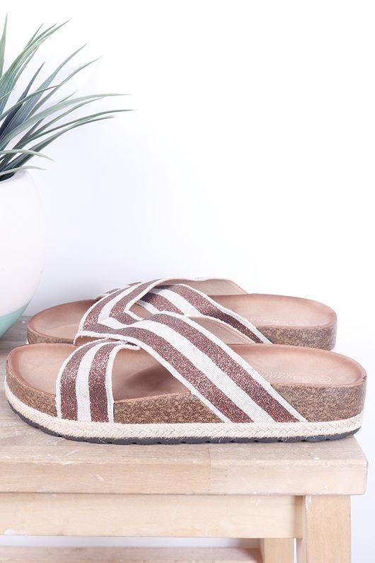 Stripe Hessian Slider Tan
