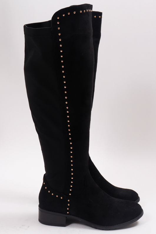 Stud Over The Knee Boots Black