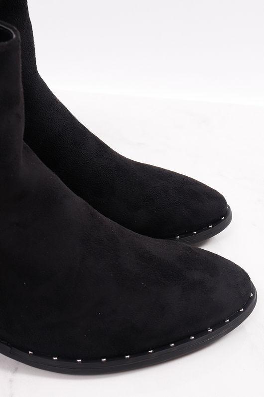 Stud Suedette Western Boots Black