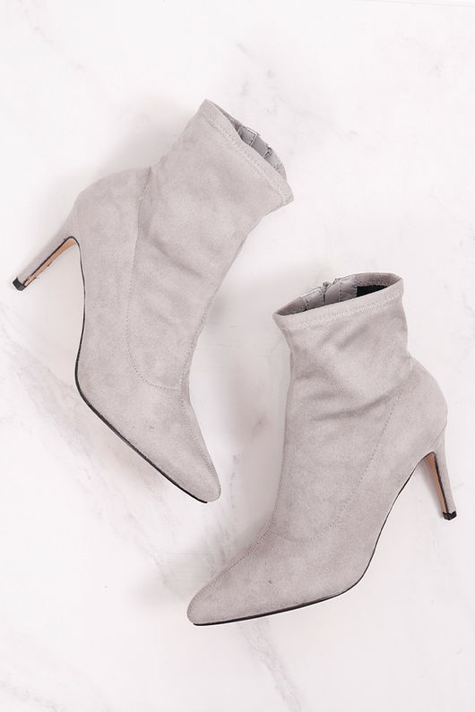 Suedette Ankle Boot Dove Grey