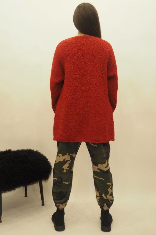 Super Soft Boucle Cardigan Red