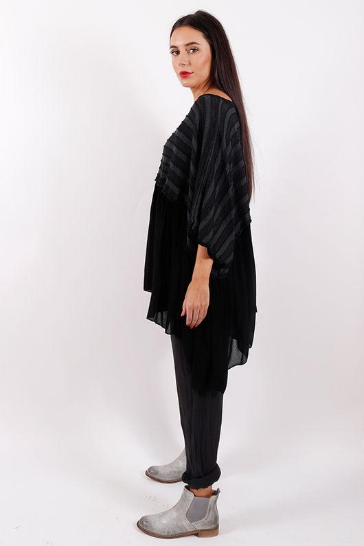 Stockholm Textured Ruffle Top Black