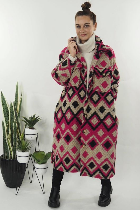 The Aztec Diamond Coat Hot Pink