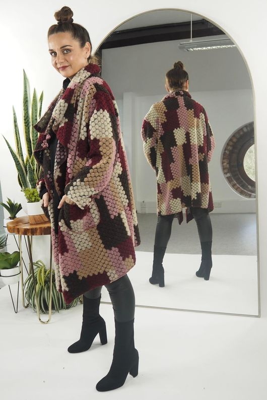 The Bubble Boucle Coat Rioja And Rose