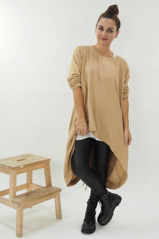 The Harper High Low Hitch Back Top Soft Tan