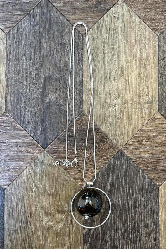 The Hoop Ball Necklace Pewter