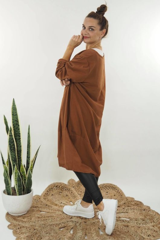 The Mercer Panel Cocoon Dress Tobacco