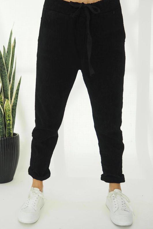 The Micro Cord Magic Pant Black
