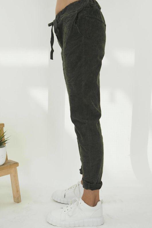 The Micro Cord Magic Pant Khaki