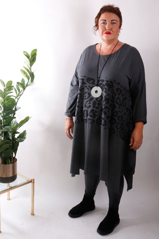 The Animal 4 Point Tunic Dress Graphite