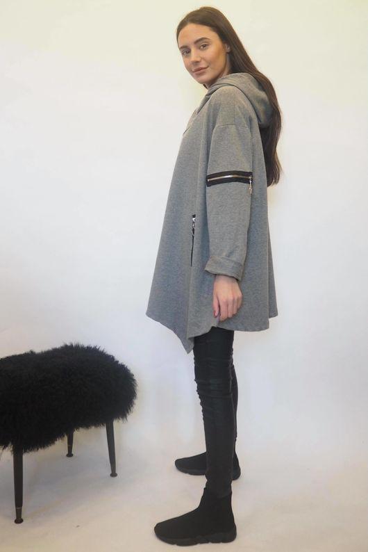 The Asymmetric Oversized Zippy Hoody Grey Marl