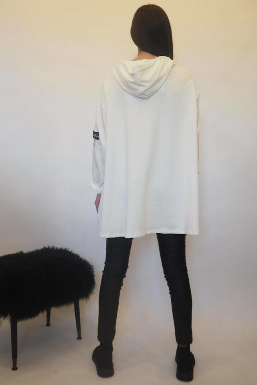 The Asymmetric Oversized Zippy Hoody White