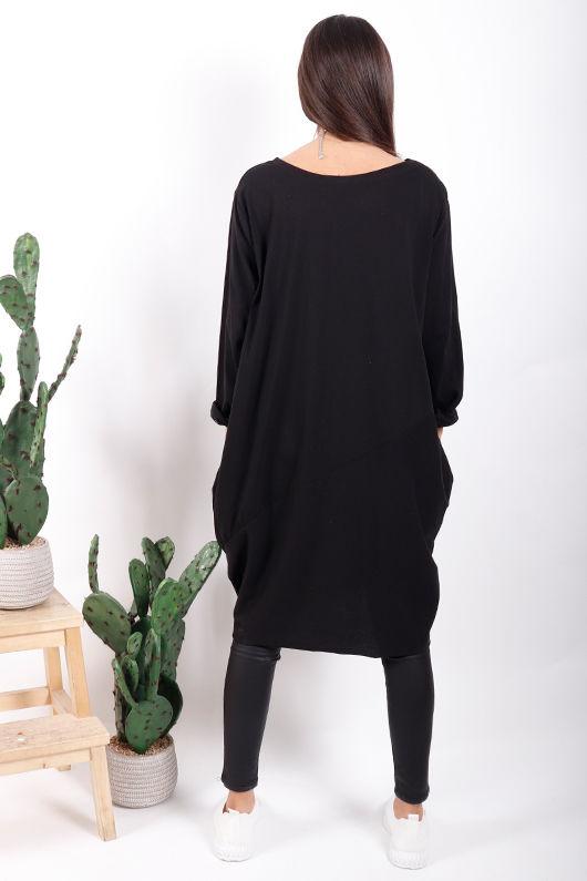 The Basic Cocoon Tunic Black