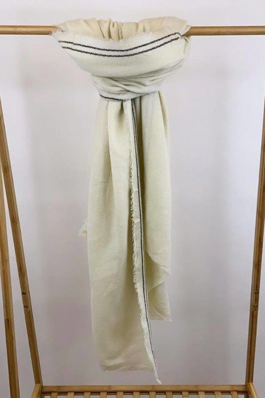 The Boarder Blanket Scarf Ecru